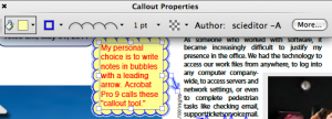 The Properties toolbar in Adobe Acrobat Pro 9 changes depending on the element selected.
