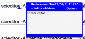 screen capture of what Acrobat does when text is selected with the text edit tool, and then typed over