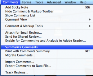 where to find the summarize comments function in Acrobat 9 Pro
