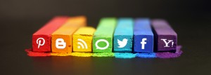 social media icons on pastels