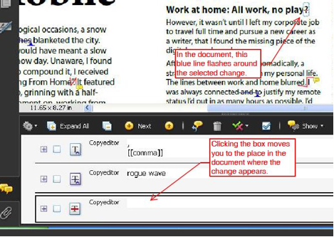 Each comment is linked to a little blue line in the document, that flashes when that change/comment is selected.