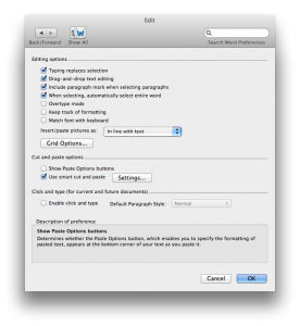 Edit preferences screen in Word 14 for Mac