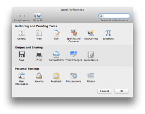 Word Preferences menu on Mac