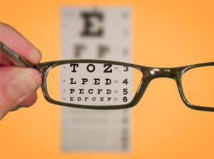 Vision Of Eyechart With Glasses used with permission of www.SeniorLiving.Org