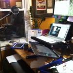standing desk setup with mic