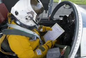 preflight Dave Wright reviews pre-flight checklist prior to take-off NASA