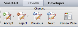Word Changes area of Review ribbon