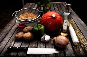 food on wood table
