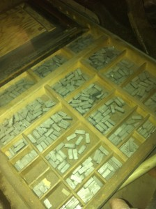 printer tray of letters