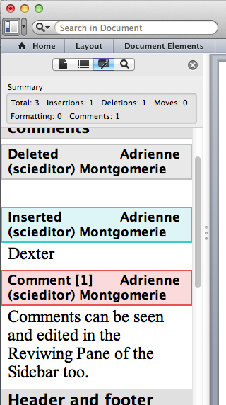 Screen capture showing Word's Review Pane where tracked changes and comments can be seen