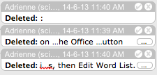 Screen capture of ellipsis buttons that appear when the Markup Area gets overcrowded in Word