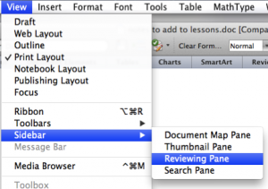 Screen shot of Word's view menu showing how to access the Reviewing Pane