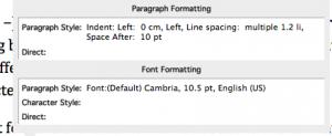 Screen Shot of Word 11's reveal character formatting Mac