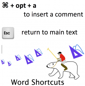 graphic summary of keyboard shortcuts to insert a new Comment in Word and return to the main document