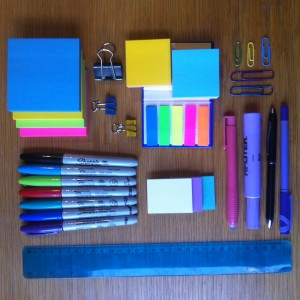 photo of stationery supplies for editing on paper