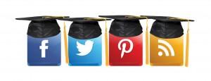 social media icons wearing grad caps
