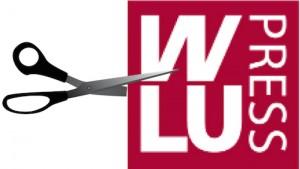 scissors cutting into WLU Press logo