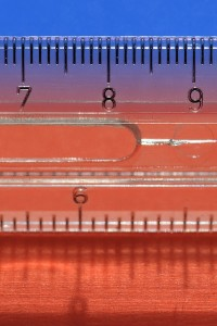 close up on numbers 789 on a clear ruler