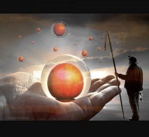 surreal image of orange apples floating before a shepherd