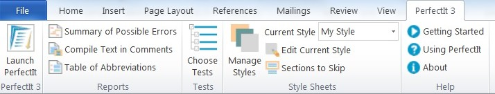 ribbon interface of Perfect It 3