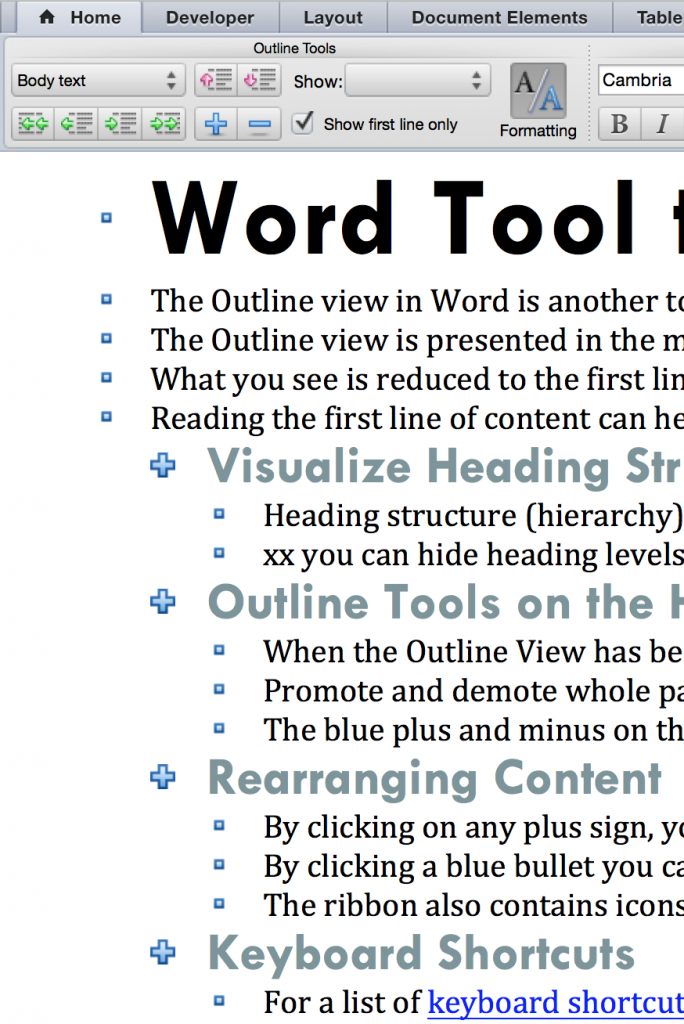 Word Outline View sample