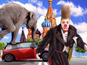 clown running from an elephant stepping on a car