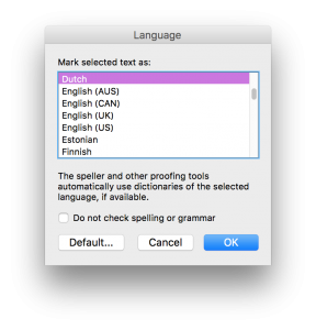 screenshot of Mac MS Word 14 language setting interface
