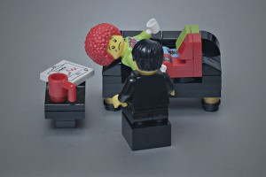 clown on psychiatrist couch in Lego figures