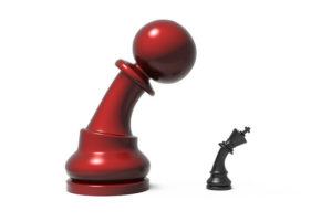 giant pawn leaning over another game piece