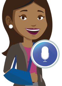 woman with arm in sling using dictation icon