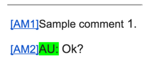 sample comments extracted from a Word doc