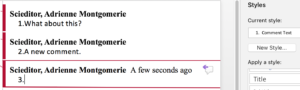 screenshot use style to apply auto numbering to comments in Word 2016