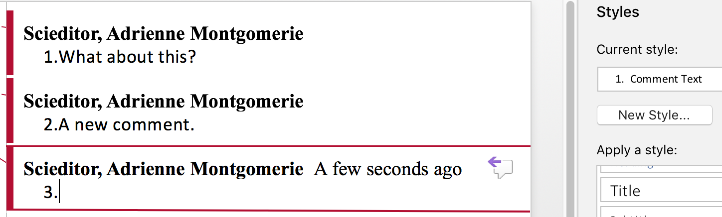 Automatically Number Comments in Word