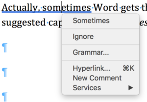 Screenshot of Word grammar suggestion Actually Sometimes