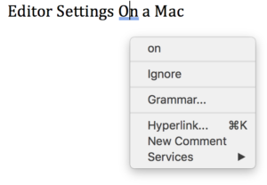 Screenshot of Word 365 (2016) Mac editor (grammar) suggestions for headline caps