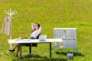 Businesswoman behind office desk in a sunny meadow