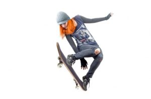 showing what low resolution looks like in an image of a skateboarder leaping in the air